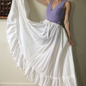 Huge White Cotton Circle Skirt Theatre Maxi
